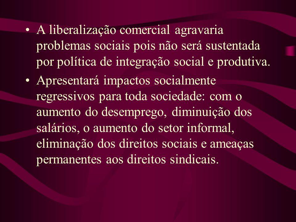 A liberalização comercial agravaria problemas sociais pois não será sustentada por política de integração social e produtiva.