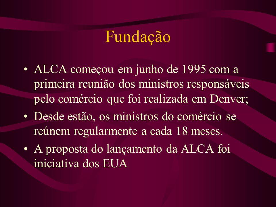 Fundação ALCA começou em junho de 1995 com a primeira reunião dos ministros responsáveis pelo comércio que foi realizada em Denver;