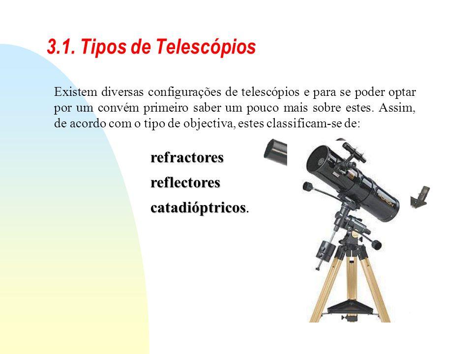 3.1. Tipos de Telescópios refractores reflectores catadióptricos.