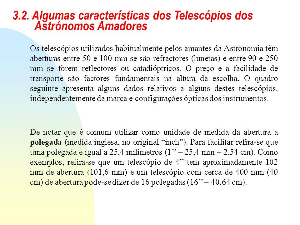 3.2. Algumas características dos Telescópios dos Astrónomos Amadores