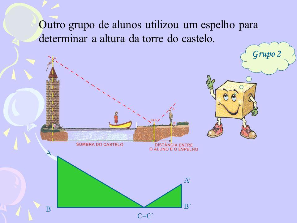 Outro grupo de alunos utilizou um espelho para determinar a altura da torre do castelo.