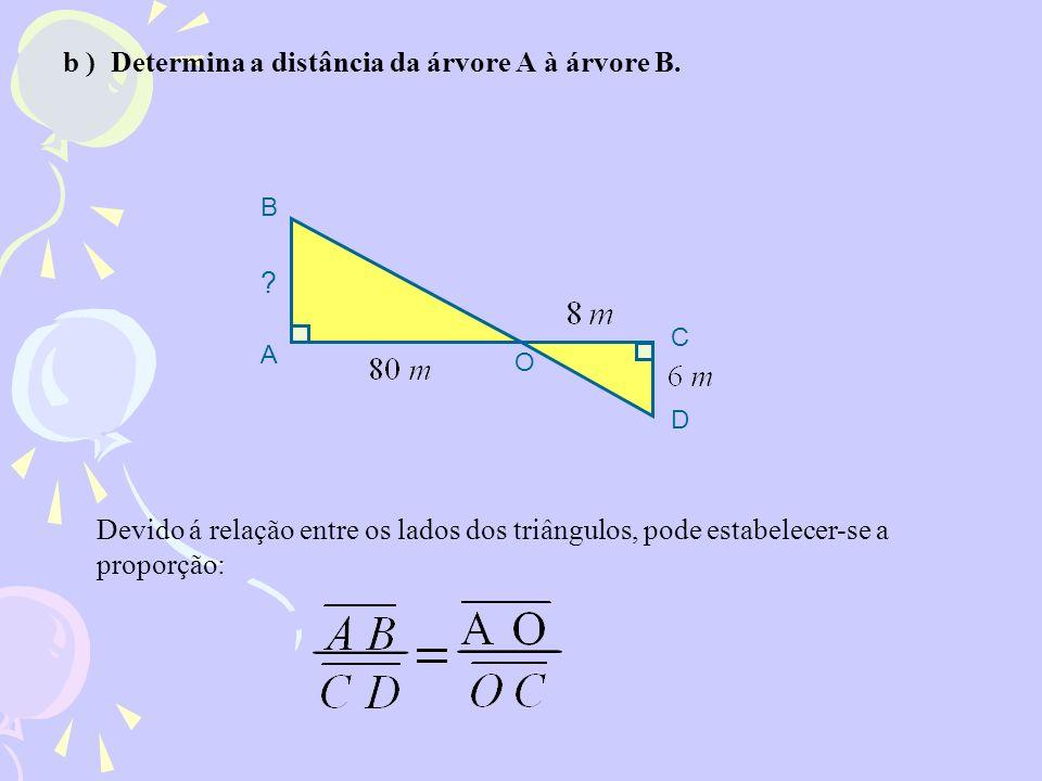 b ) Determina a distância da árvore A à árvore B.