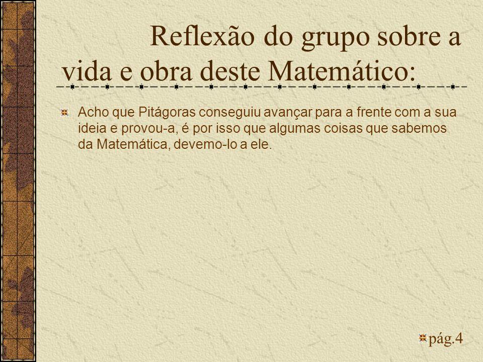Reflexão do grupo sobre a vida e obra deste Matemático: