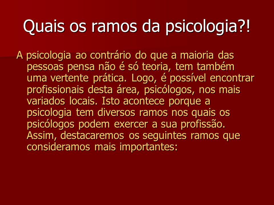 Quais os ramos da psicologia !
