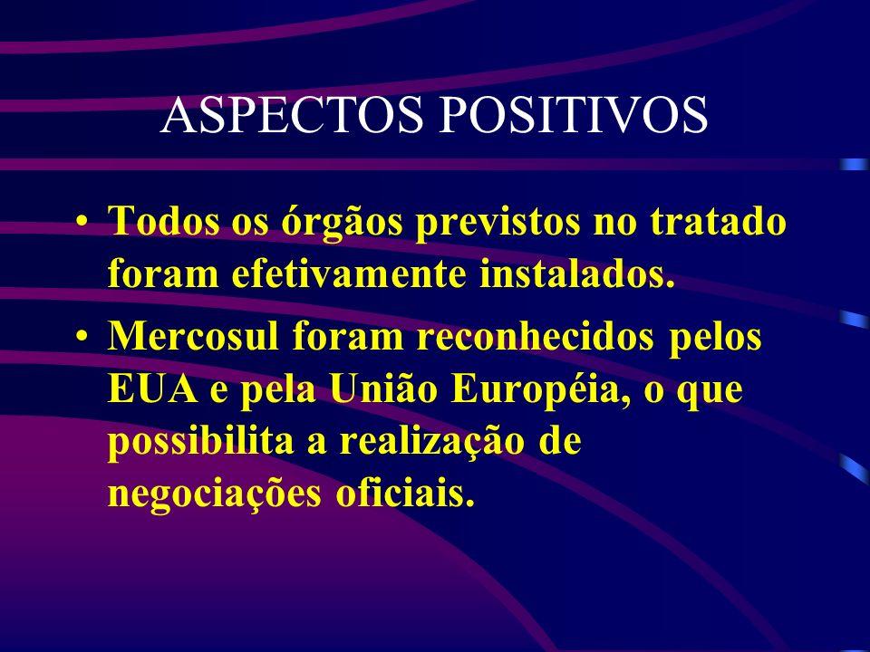 ASPECTOS POSITIVOS Todos os órgãos previstos no tratado foram efetivamente instalados.