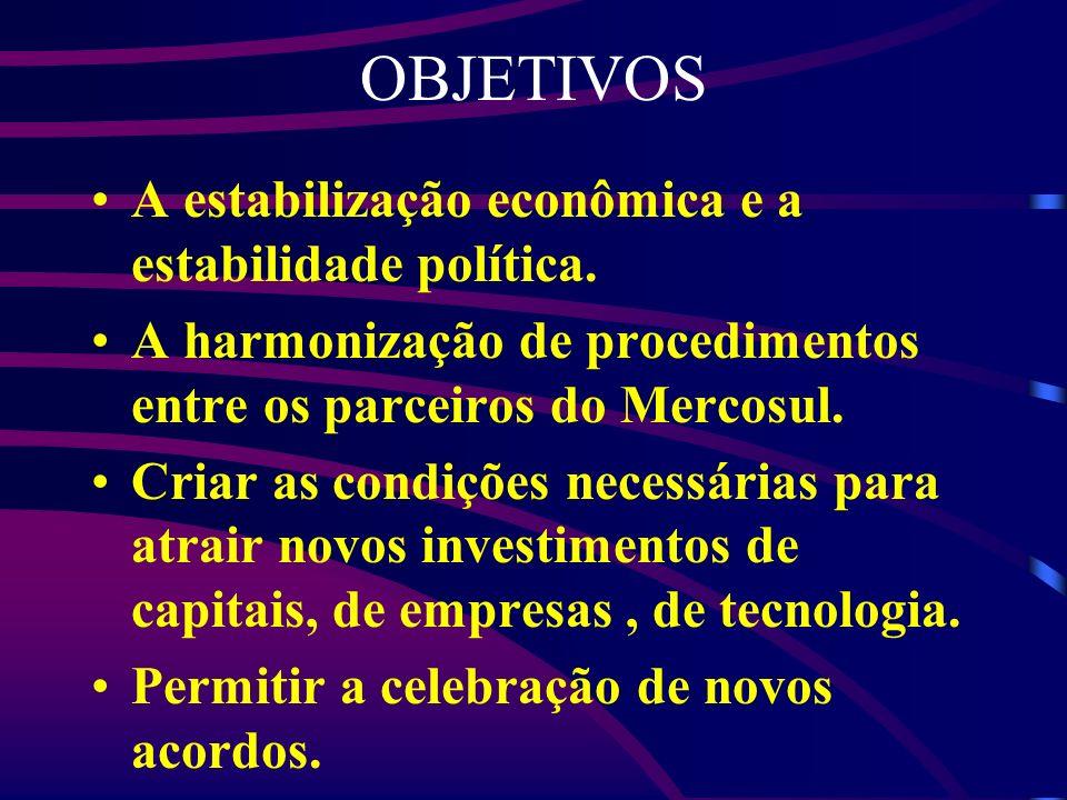 OBJETIVOS A estabilização econômica e a estabilidade política.