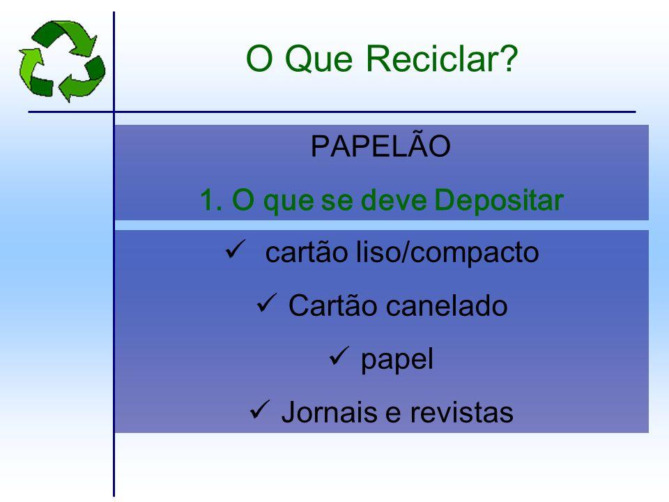 O Que Reciclar PAPELÃO O que se deve Depositar cartão liso/compacto