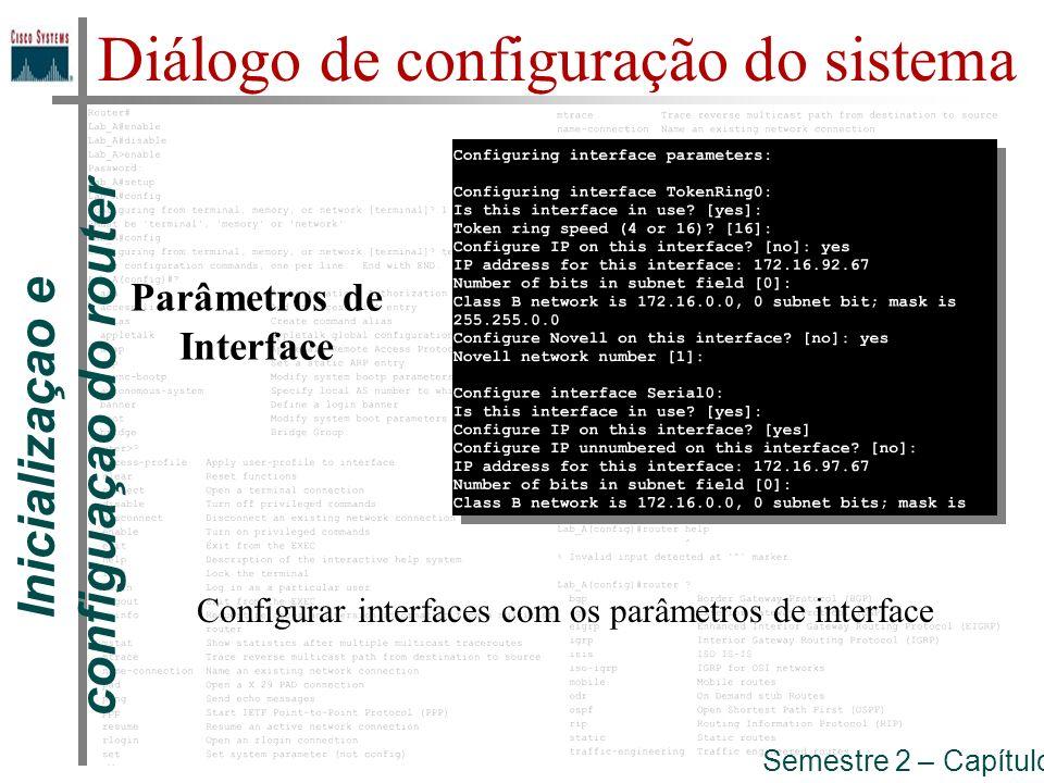 Parâmetros de Interface Inicializaçao e configuaçao do router