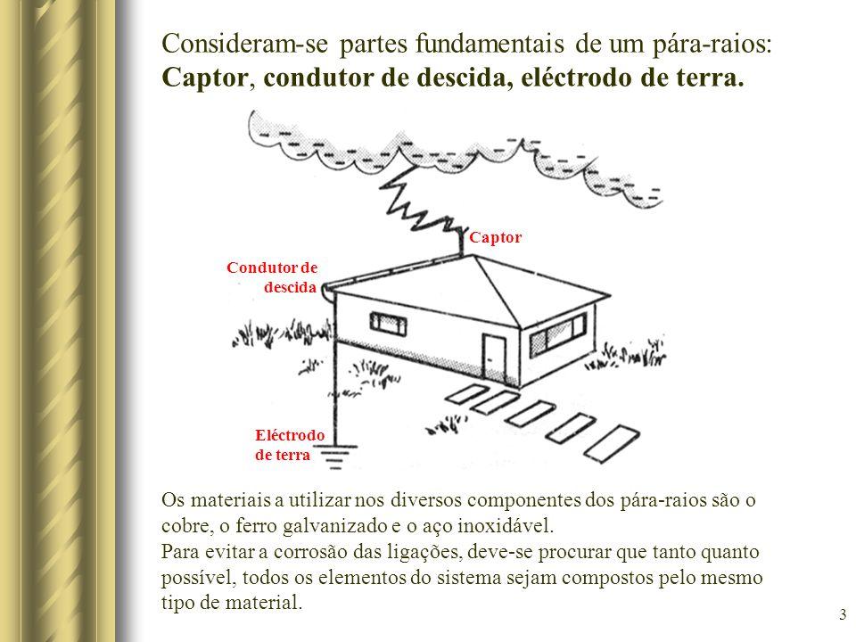 Consideram-se partes fundamentais de um pára-raios: Captor, condutor de descida, eléctrodo de terra.