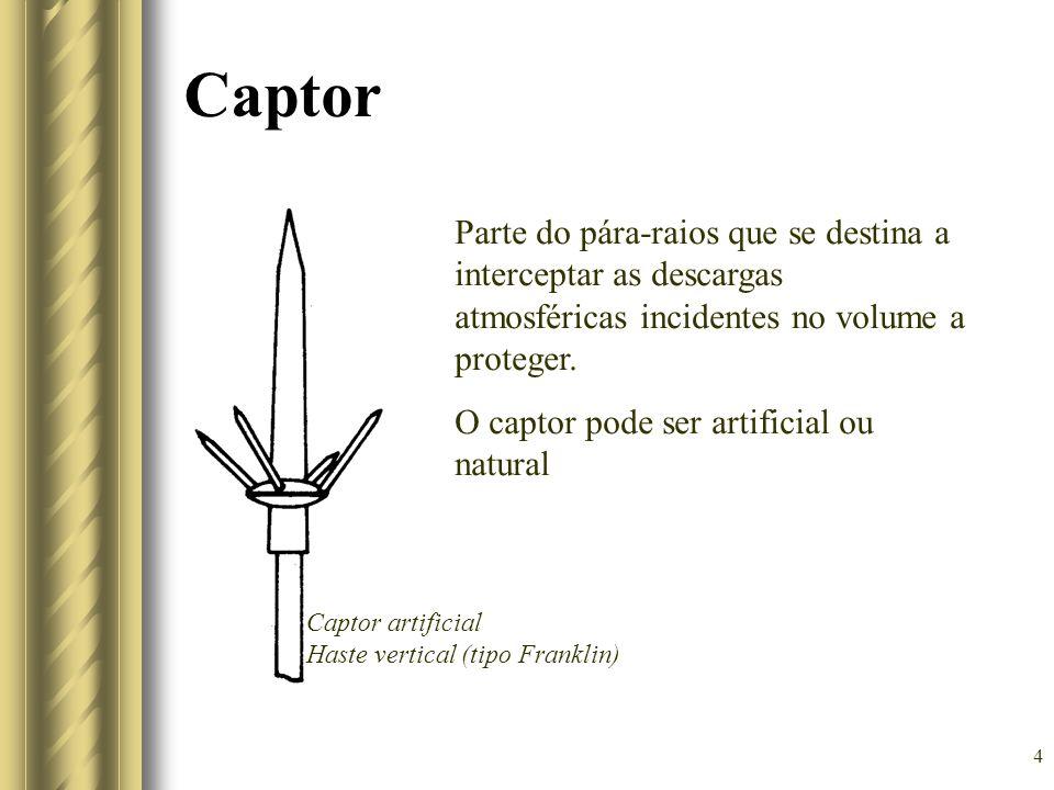 Captor Parte do pára-raios que se destina a interceptar as descargas atmosféricas incidentes no volume a proteger.