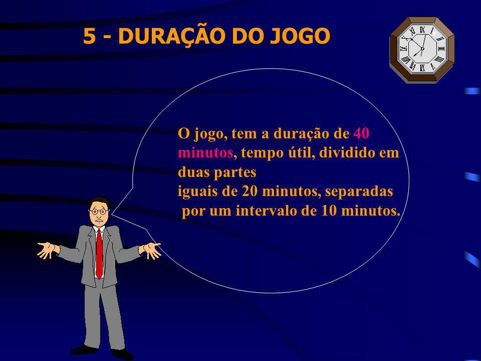5 - DURAÇÃO DO JOGO O jogo, tem a duração de 40