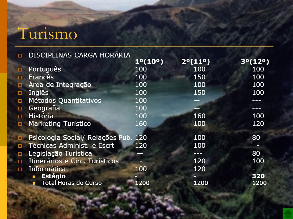 Turismo DISCIPLINAS CARGA HORÁRIA 1º(10º) 2º(11º) 3º(12º)