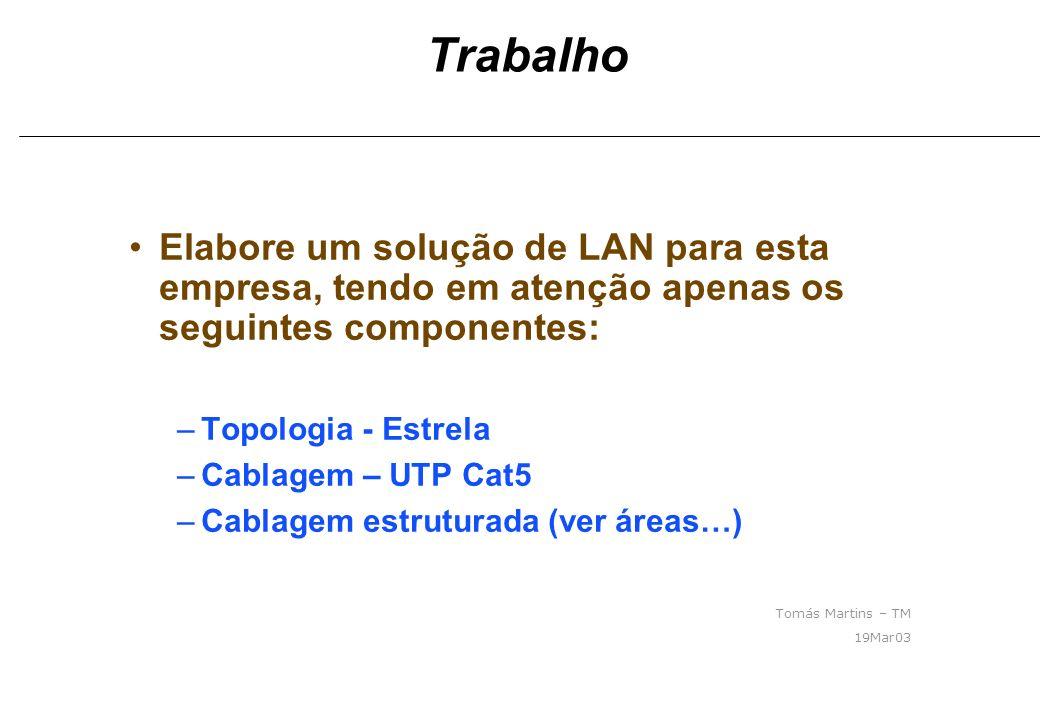 Trabalho Elabore um solução de LAN para esta empresa, tendo em atenção apenas os seguintes componentes: