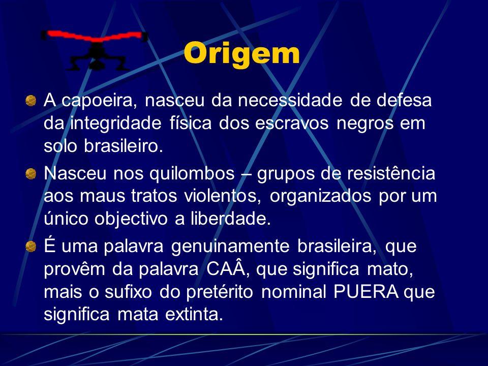 OrigemA capoeira, nasceu da necessidade de defesa da integridade física dos escravos negros em solo brasileiro.