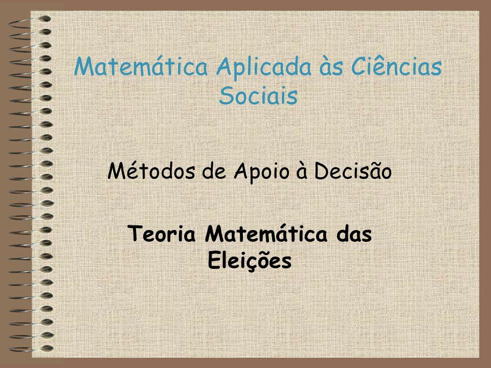 Matemática Aplicada às Ciências Sociais