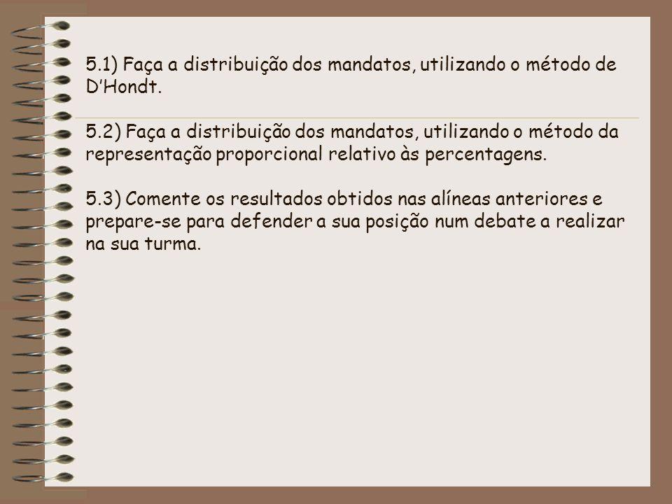 5. 1) Faça a distribuição dos mandatos, utilizando o método de D'Hondt