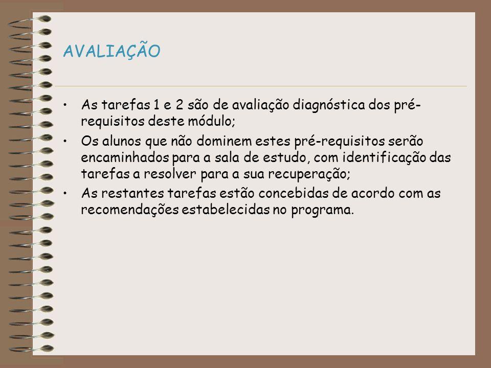 AVALIAÇÃO As tarefas 1 e 2 são de avaliação diagnóstica dos pré-requisitos deste módulo;