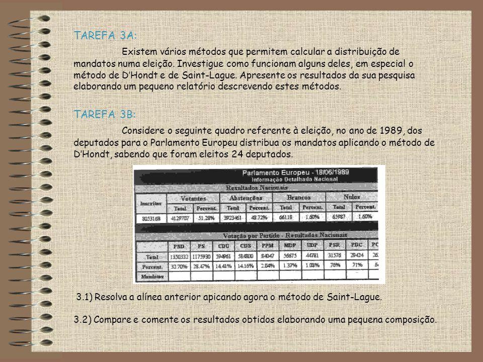 TAREFA 3A: Existem vários métodos que permitem calcular a distribuição de mandatos numa eleição.