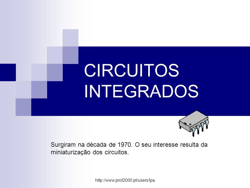 CIRCUITOS INTEGRADOS Surgiram na década de 1970. O seu interesse resulta da miniaturização dos circuitos.