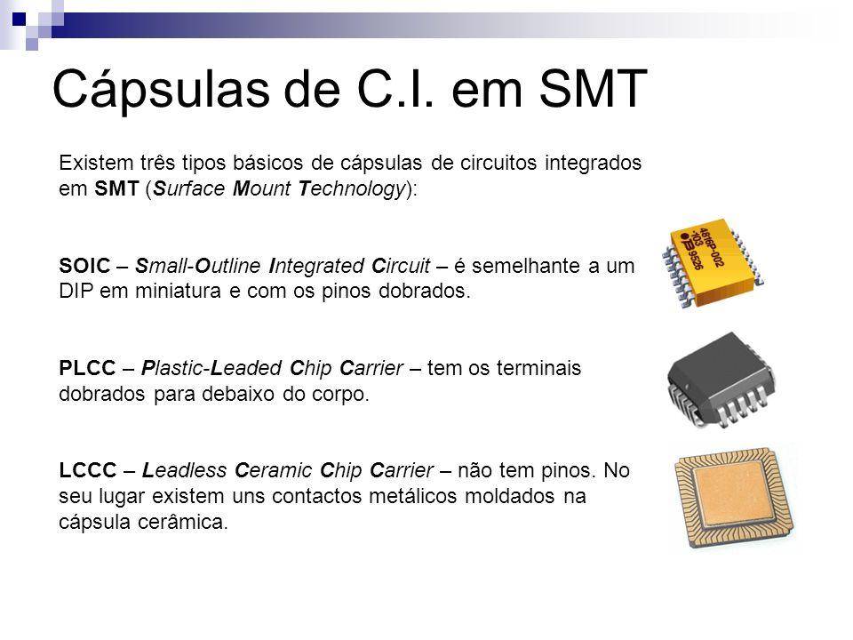 Cápsulas de C.I. em SMT Existem três tipos básicos de cápsulas de circuitos integrados em SMT (Surface Mount Technology):