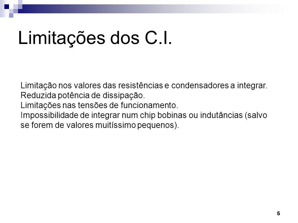 Limitações dos C.I. Limitação nos valores das resistências e condensadores a integrar. Reduzida potência de dissipação.