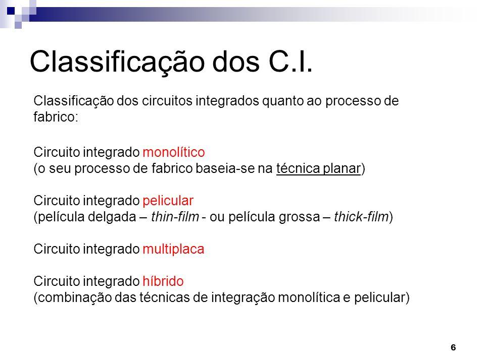 Classificação dos C.I. Classificação dos circuitos integrados quanto ao processo de fabrico: Circuito integrado monolítico.