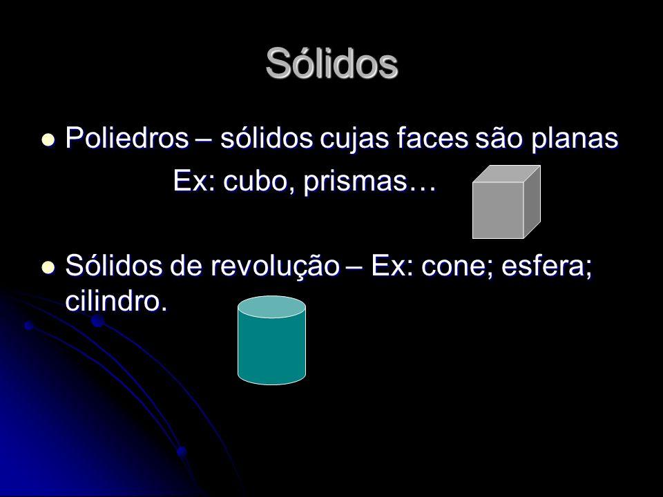 Sólidos Poliedros – sólidos cujas faces são planas Ex: cubo, prismas…
