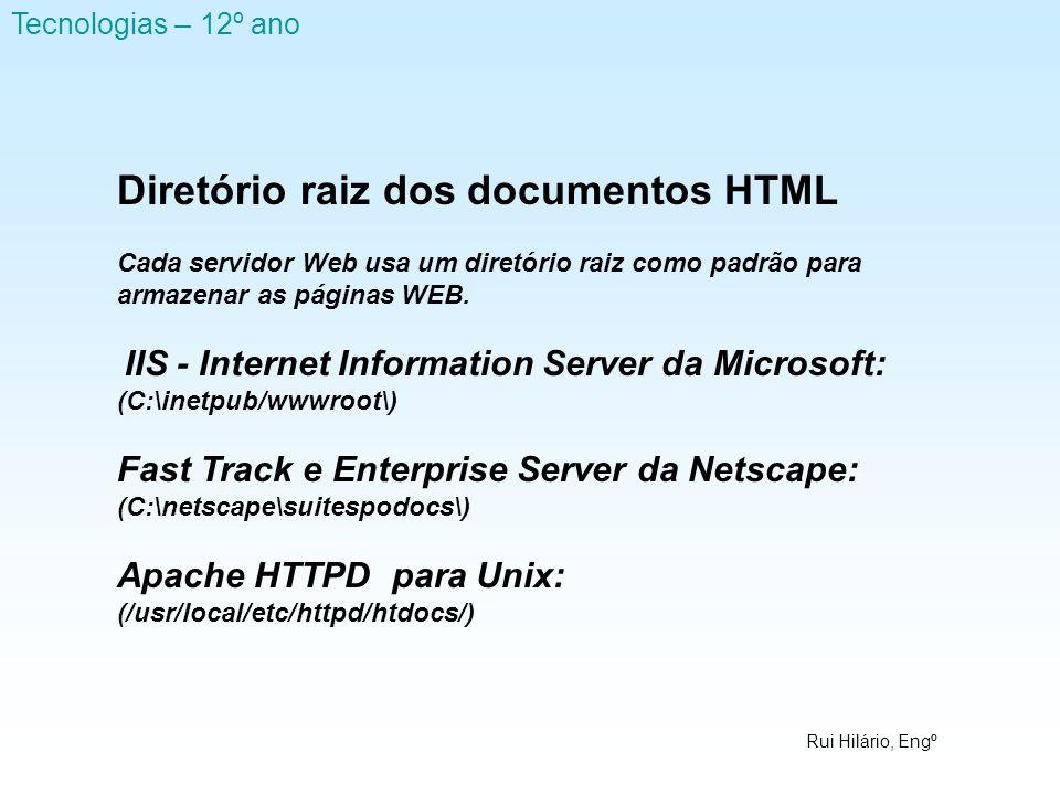 Diretório raiz dos documentos HTML