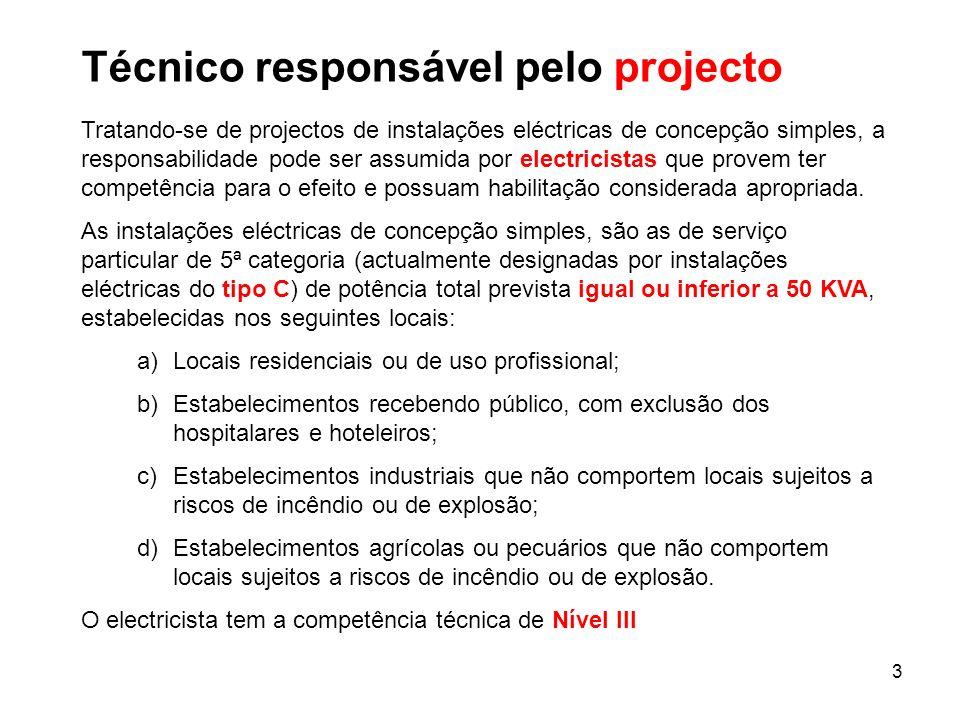Técnico responsável pelo projecto