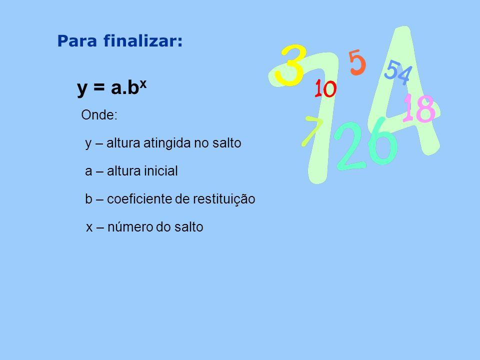y = a.bx Para finalizar: Onde: y – altura atingida no salto