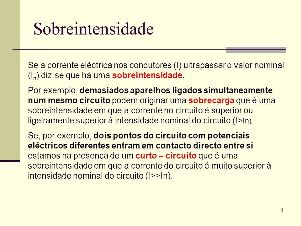 Sobreintensidade Se a corrente eléctrica nos condutores (I) ultrapassar o valor nominal (In) diz-se que há uma sobreintensidade.