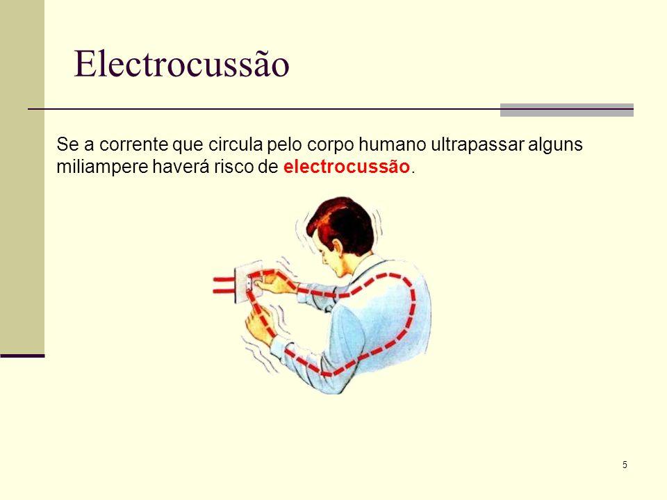Electrocussão Se a corrente que circula pelo corpo humano ultrapassar alguns miliampere haverá risco de electrocussão.
