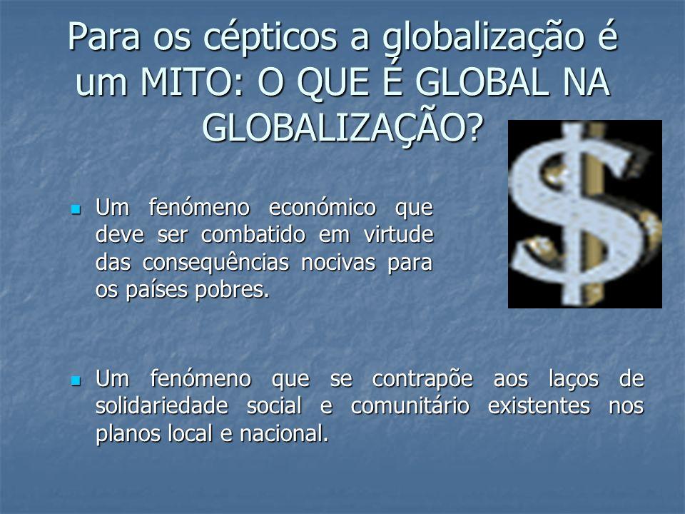 Para os cépticos a globalização é um MITO: O QUE É GLOBAL NA GLOBALIZAÇÃO