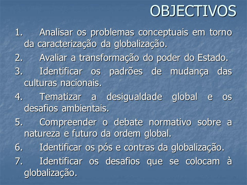 OBJECTIVOS 1. Analisar os problemas conceptuais em torno da caracterização da globalização. 2. Avaliar a transformação do poder do Estado.
