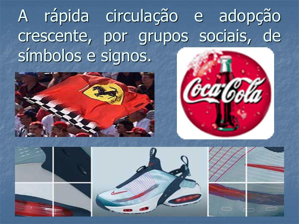 A rápida circulação e adopção crescente, por grupos sociais, de símbolos e signos.