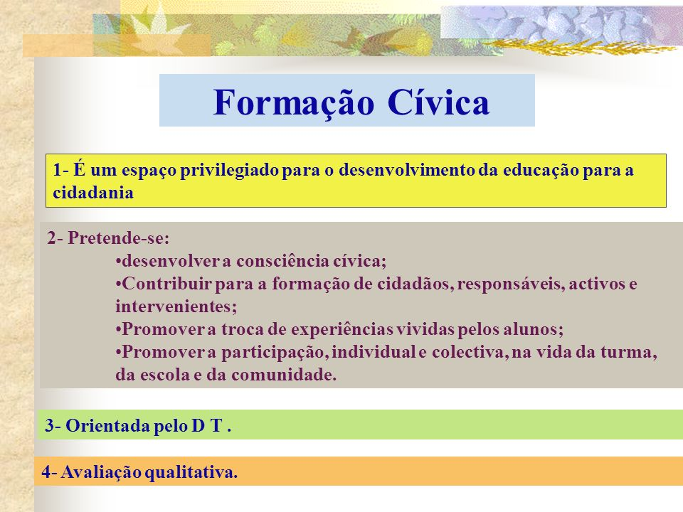 Formação Cívica 1- É um espaço privilegiado para o desenvolvimento da educação para a cidadania. 2- Pretende-se: