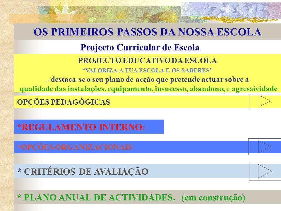 OS PRIMEIROS PASSOS DA NOSSA ESCOLA