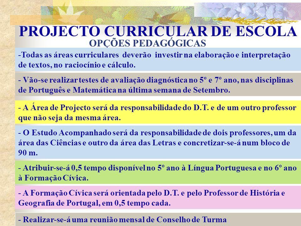 PROJECTO CURRICULAR DE ESCOLA