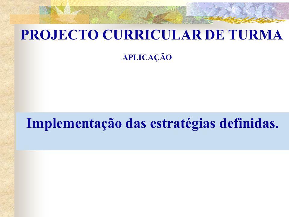 PROJECTO CURRICULAR DE TURMA Implementação das estratégias definidas.