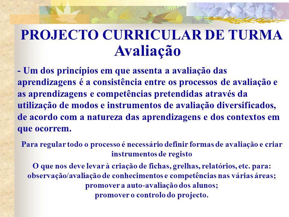 Avaliação PROJECTO CURRICULAR DE TURMA