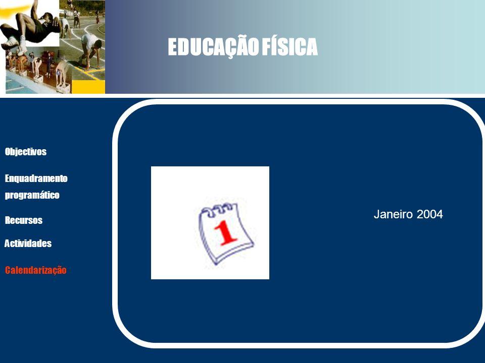 EDUCAÇÃO FÍSICA Janeiro 2004 Objectivos Enquadramento programático