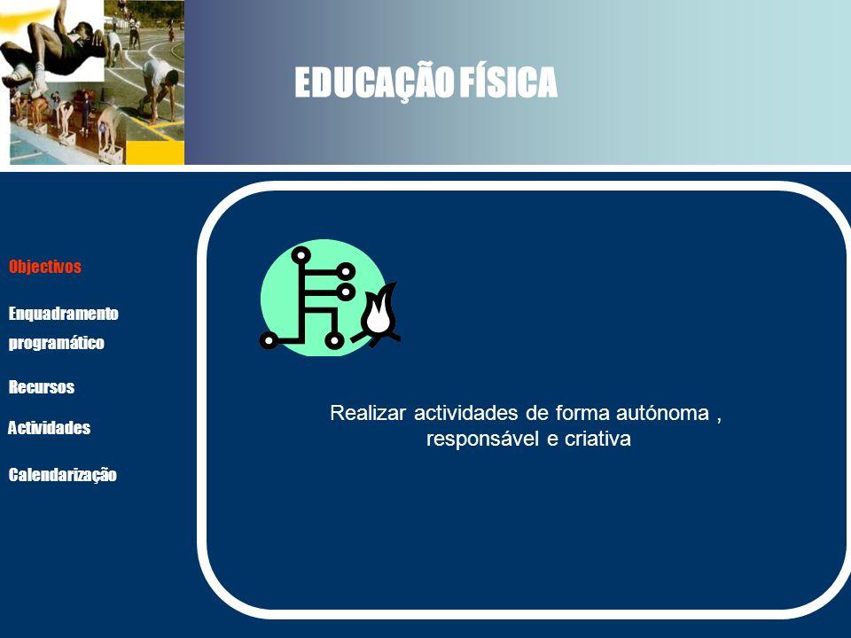 EDUCAÇÃO FÍSICA Realizar actividades de forma autónoma ,