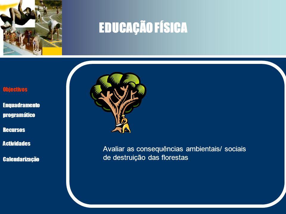 EDUCAÇÃO FÍSICA Avaliar as consequências ambientais/ sociais