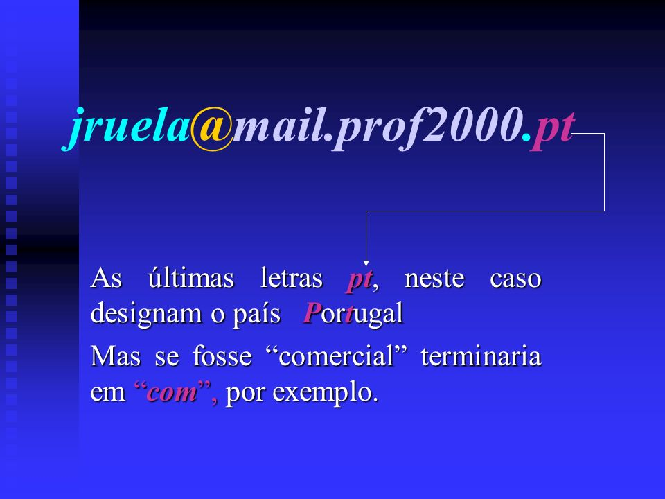 jruela@mail.prof2000.pt As últimas letras pt, neste caso designam o país Portugal.