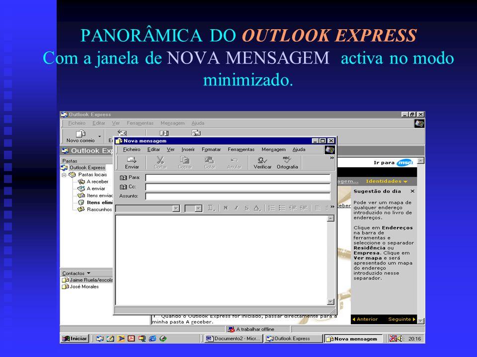 PANORÂMICA DO OUTLOOK EXPRESS Com a janela de NOVA MENSAGEM activa no modo minimizado.
