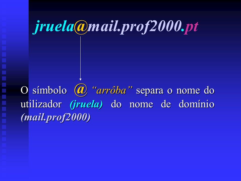 jruela@mail.prof2000.pt O símbolo @ arrôba separa o nome do utilizador (jruela) do nome de domínio (mail.prof2000)