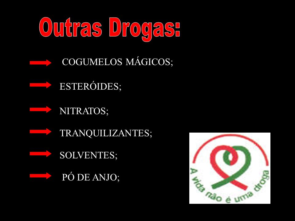 Outras Drogas: COGUMELOS MÁGICOS; ESTERÓIDES; NITRATOS;