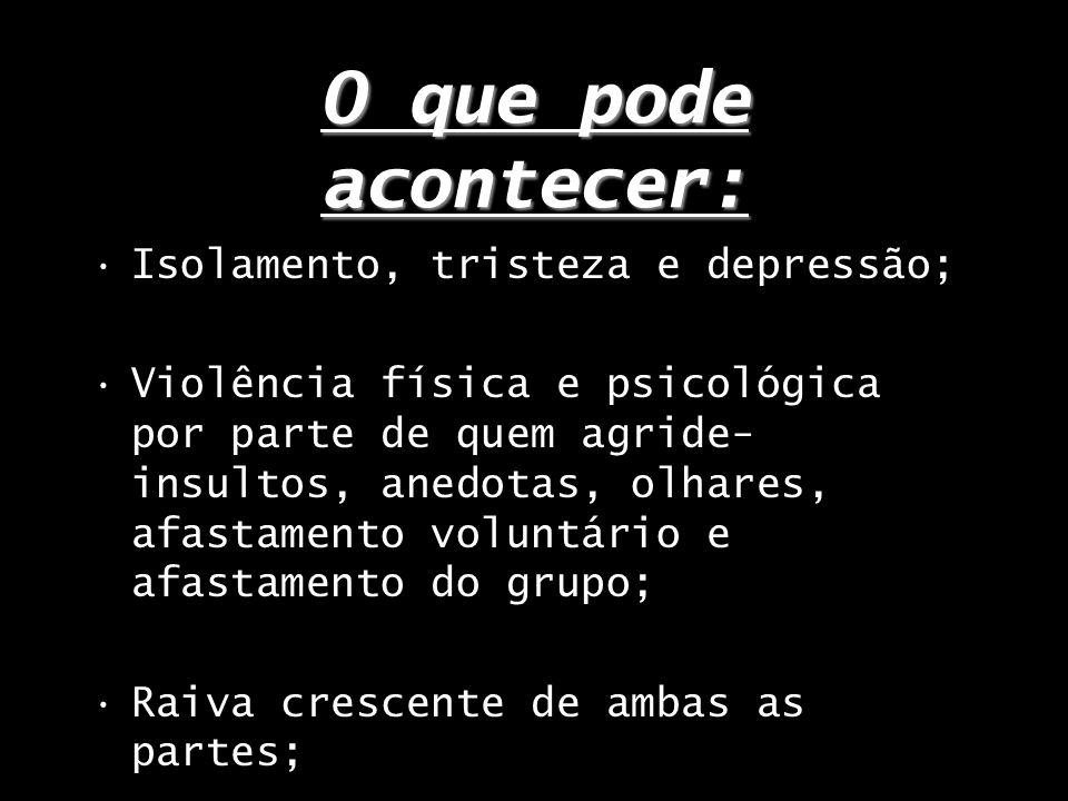O que pode acontecer: Isolamento, tristeza e depressão;
