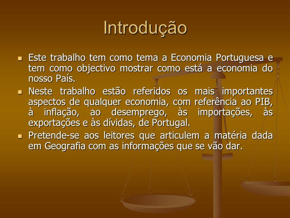 Introdução Este trabalho tem como tema a Economia Portuguesa e tem como objectivo mostrar como está a economia do nosso País.