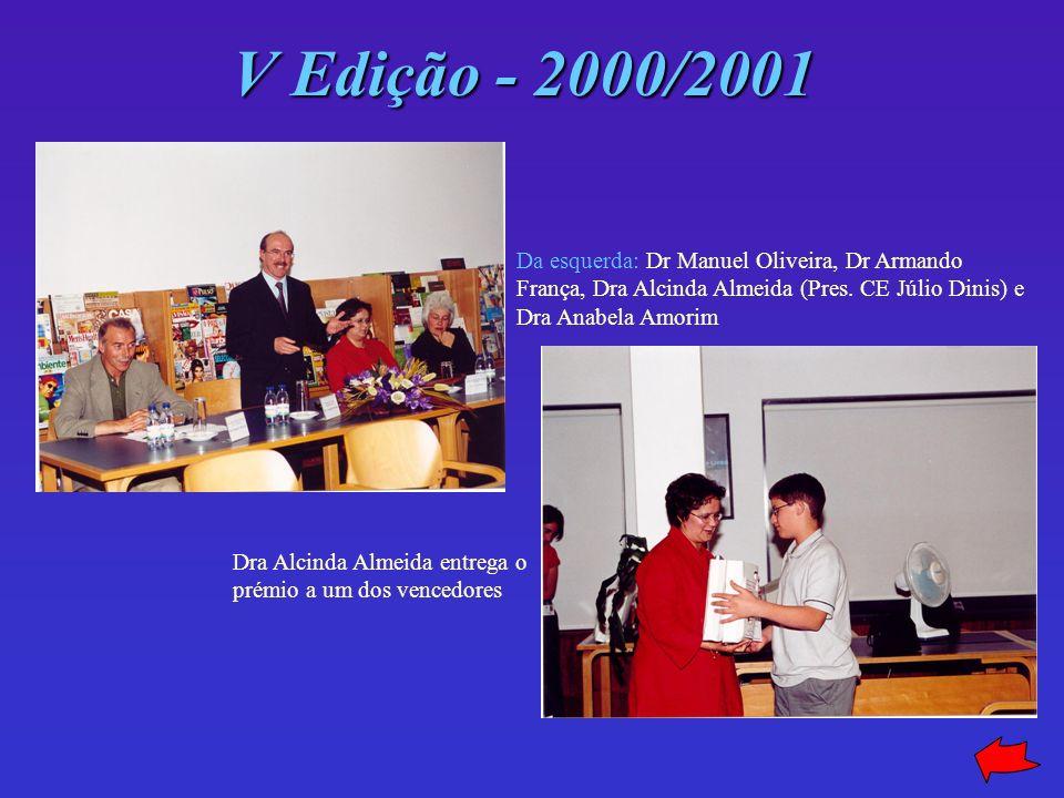 V Edição - 2000/2001 Da esquerda: Dr Manuel Oliveira, Dr Armando França, Dra Alcinda Almeida (Pres. CE Júlio Dinis) e Dra Anabela Amorim.